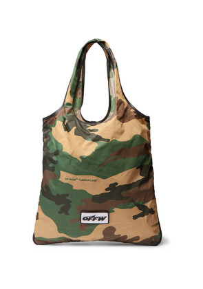 Leather-trimmed Camouflage-print Canvas Tote Bag