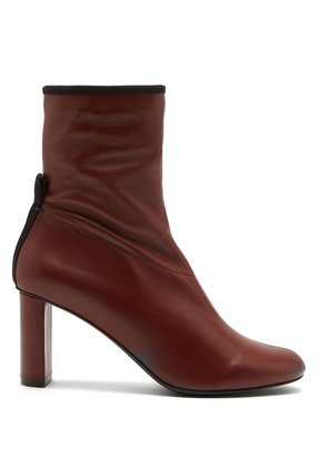 Block-heel leather ankle boots