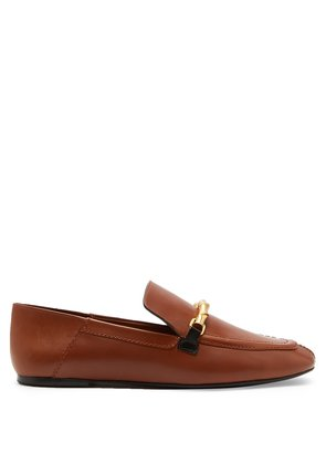 Twisted bar-embellished leather loafers