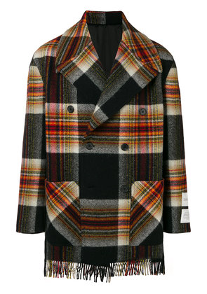 Calvin Klein 205W39nyc double breasted plaid coat - Black
