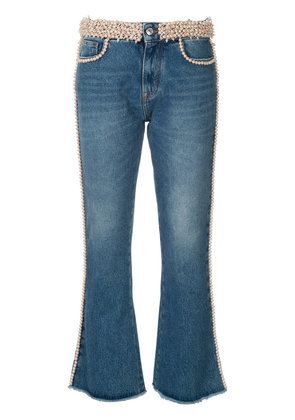 MSGM faux pearl embellished jeans - Blue