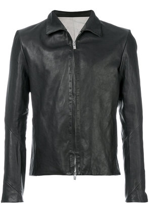A Diciannoveventitre slim-fit leather jacket - Black