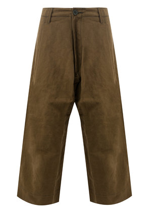 Ziggy Chen cropped wide trousers - Brown