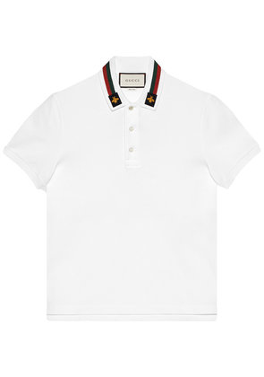 Gucci Cotton polo with Web and bee - White