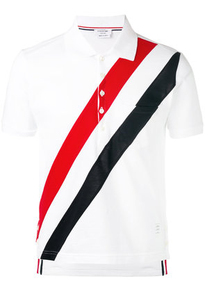 Thom Browne Short Sleeve Pocket Polo With Red, White And Blue Diagonal