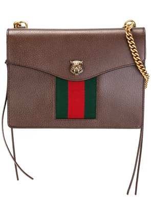 Gucci web trimmed crossbody bag - Brown