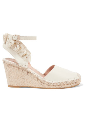 Valentino - Valentino Garavani Studded Ruffled Textured-leather Espadrille Wedge Sandals - Ivory