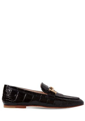 10MM DOUBLE T CROC EMBOSSED LOAFERS