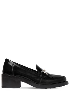 50MM DOUBLE T LEATHER LOAFER PUMPS