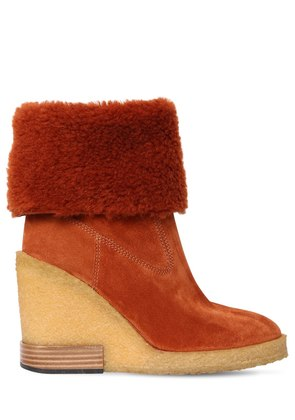 85MM SHEARLING & SUEDE BOOTS