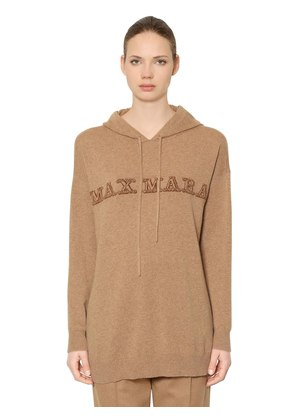 HOODED LOGO INTARSIA CASHMERE SWEATER