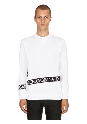 LOGO TAPE PRINTED COTTON SWEATSHIRT
