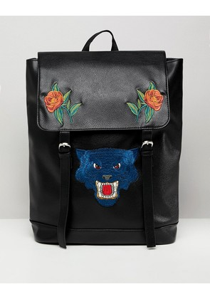 ASOS DESIGN Backpack In Faux Leather In Black With Flower And Tiger Embroidery - Black