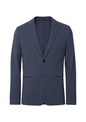Blue Newson Slim-fit Checked Stretch Virgin Wool-seersucker Blazer