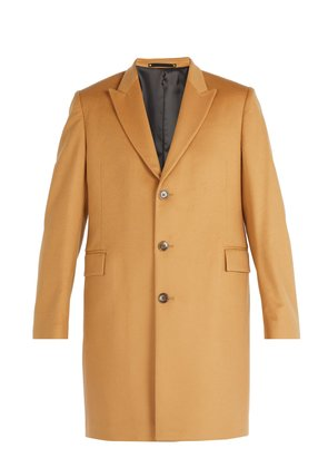 Single-breasted wool and cashmere overcoat