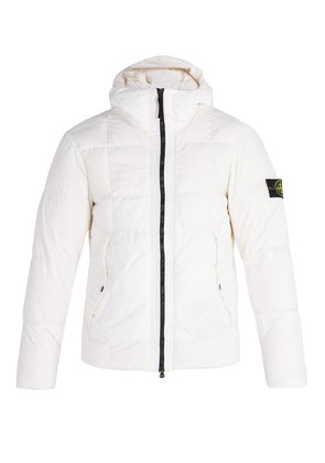 Hooded down-quilted jacket