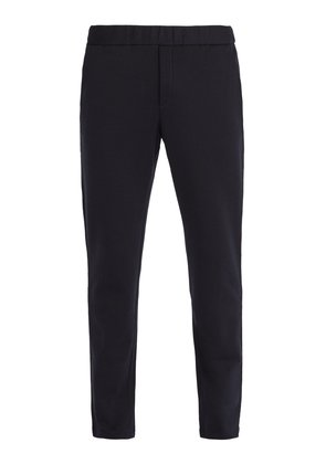Intrecciato-trim cotton and wool-blend trackpants