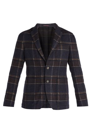 Angie single-breasted checked tweed blazer