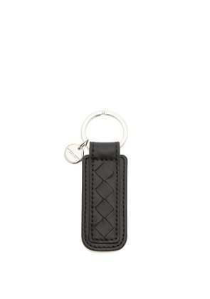 Intrecciato leather key ring
