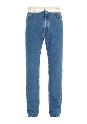 Deconstructed straight-leg jeans