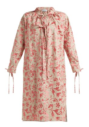 Rosa floral-embroidered linen dress