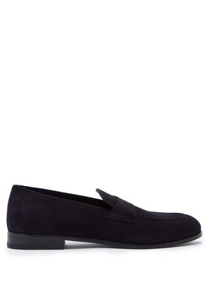 Almond-toe suede penny loafers