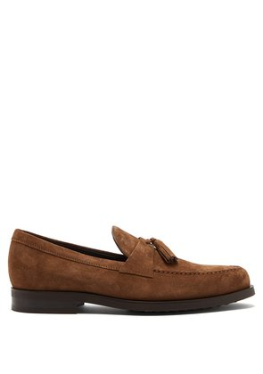 Tasselled suede penny loafers