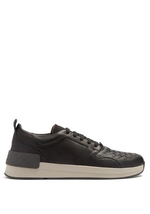 Intrecciato leather trainers