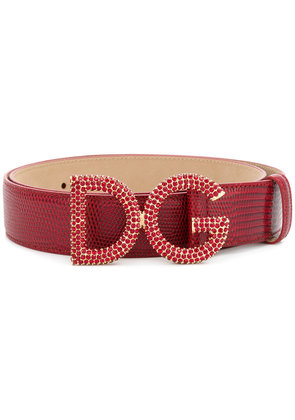 Dolce & Gabbana crystal embellished logo buckle belt - Red