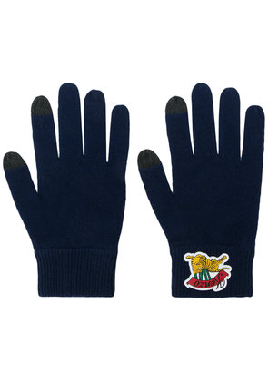 Kenzo logo embroidered gloves - Blue