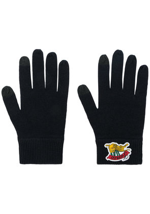 Kenzo logo embroidered gloves - Black