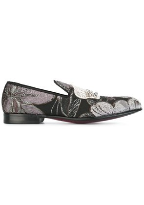 Dolce & Gabbana embroidered crown slippers - Black