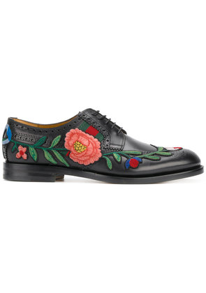 Gucci floral embroidered brogues - Black