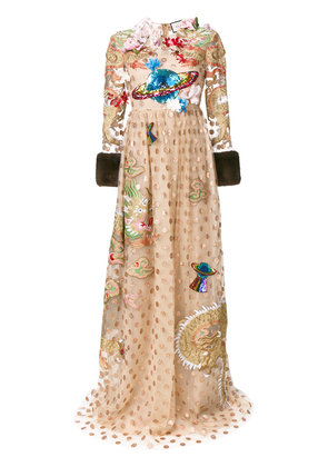 Gucci embroidered polka dot tulle gown - Nude & Neutrals