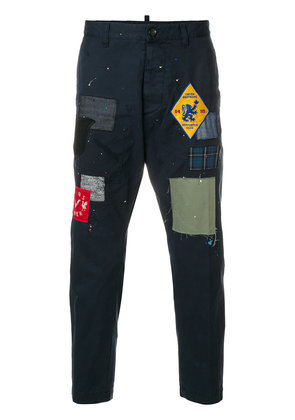 Dsquared2 patchwork cropped trousers - Blue