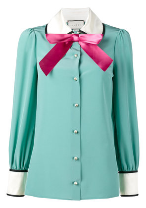 Gucci long sleeve pussy bow blouse - Blue