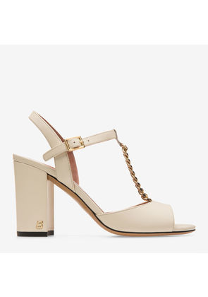 Bally Coline White, Women's plain calf leather sandal with 85mm heel in bone