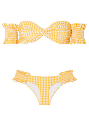 Caroline Constas - Andros Off-the-shoulder Shirred Gingham Bikini - Yellow