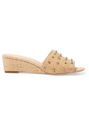 Loeffler Randall - Tilly Crystal-embellished Woven Raffia Wedge Sandals - US10