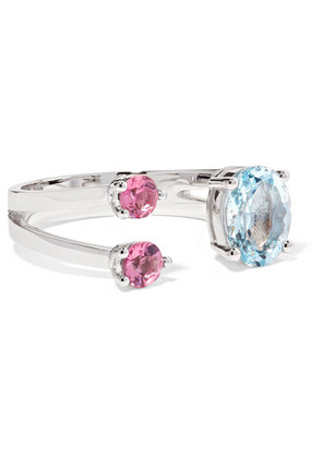 Delfina Delettrez - 18-karat White Gold, Aquamarine And Tourmaline Ring - 4