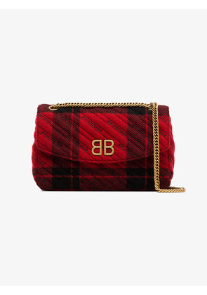 Balenciaga red BB Round logo embroidered tartan wool bag
