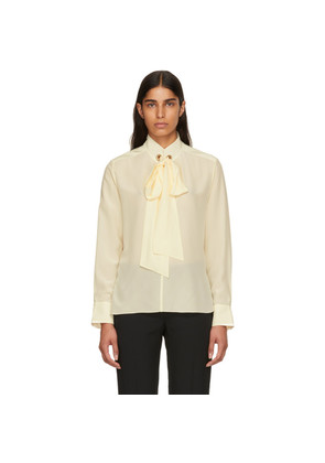 Chloé Off-White Front Neck Tie Blouse