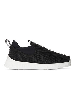 Miu Miu Black Crystal Slip-On Sneakers