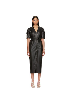Nanushka Black Vegan Leather Penelope Wrap Dress