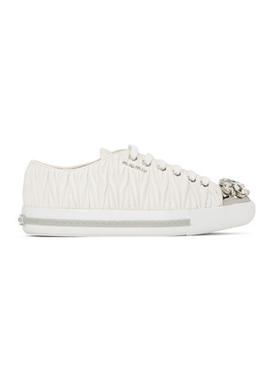 Miu Miu White Nappa Leather Maltesse Sneaker