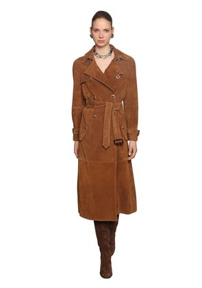 SUEDE TRENCH COAT W/ JEWELED BUTTONS