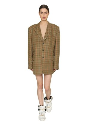 OVERSIZED WOOL CHECK BLAZER