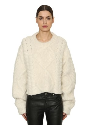 CROPPED ALPACA BLEND CABLE KNIT SWEATER