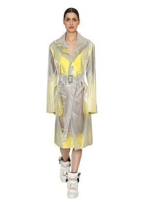 IRIDESCENT TRENCH COAT W/ MESH & FRINGE