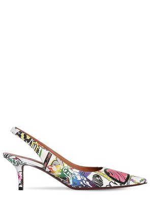 60MM GRAFFITI CANVAS SLINGBACK PUMPS